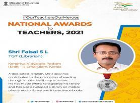 Congratulations to Shri Faisal SL from Ernakulam, Kerala on the conferment of NAT-  2021
